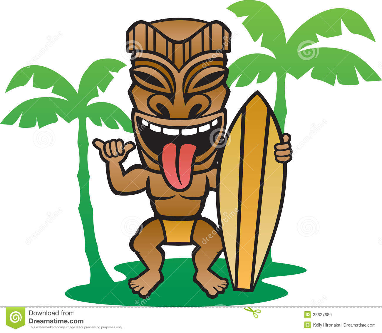 Illustration of a Tiki surfer making the shaka sign.