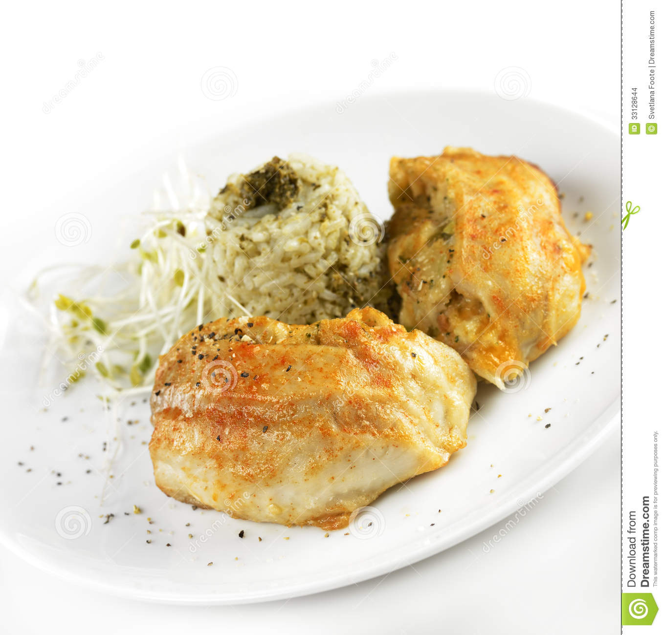 Tilapia fillet with rice stock images image 33128644 for Stuffed fish fillets