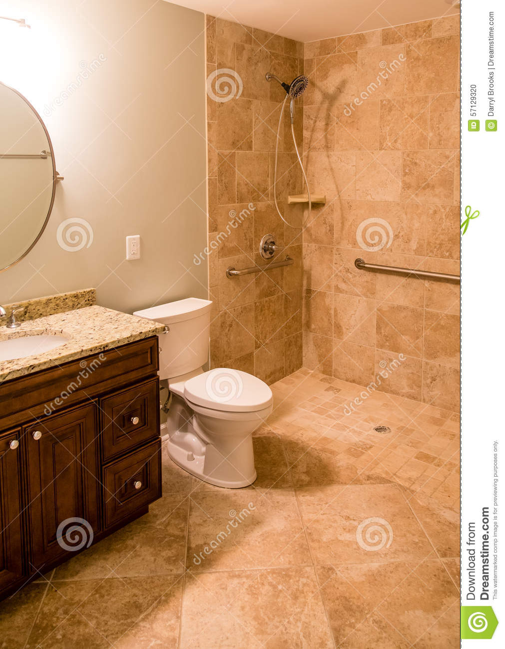Tile Bathroom With Handicapped Shower Stock Photo Image