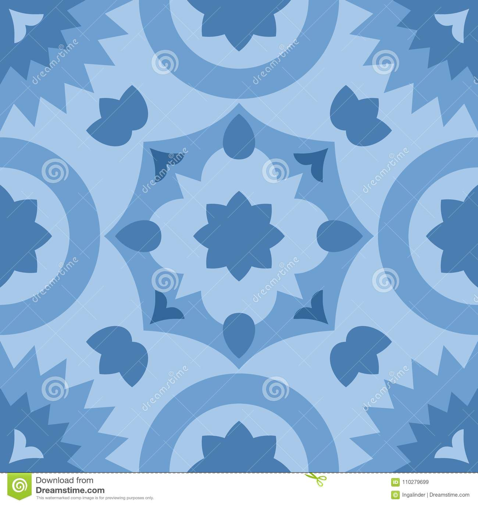 Tile Blue Decorative Floor Tiles Vector Pattern Stock Vector ...