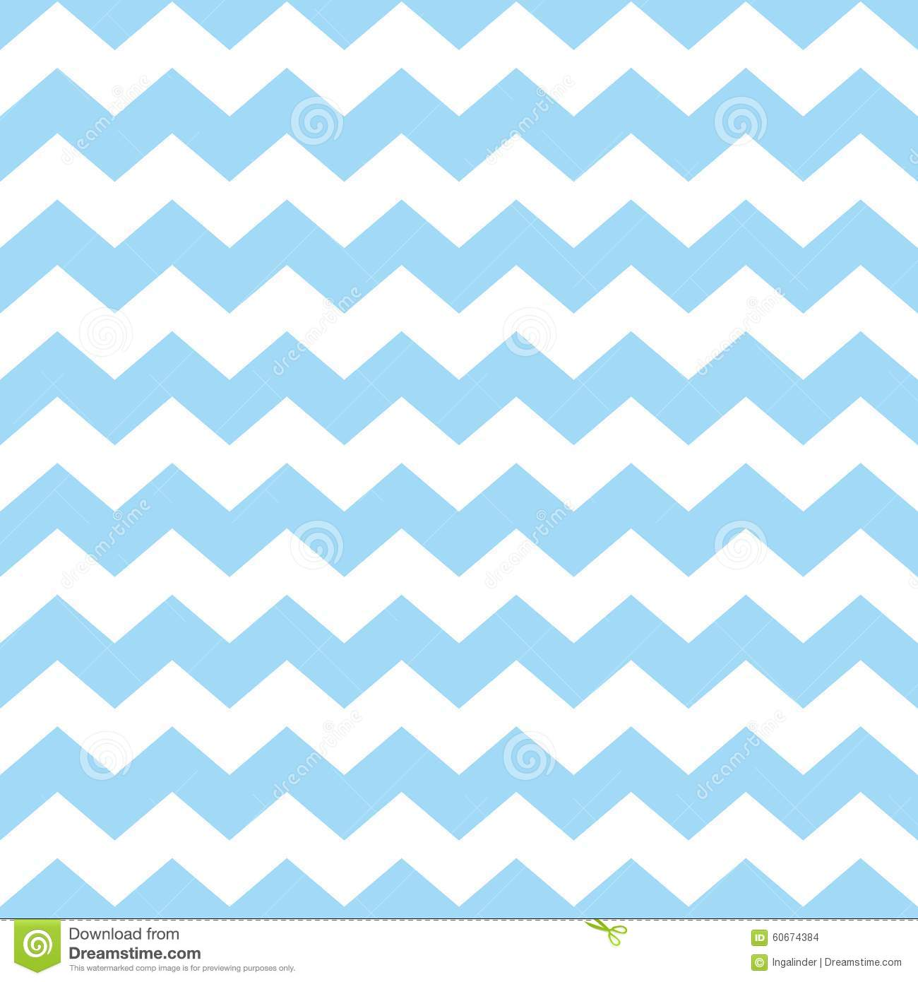 Tile Chevron Vector Pattern With Pastel Blue And White Zig Zag