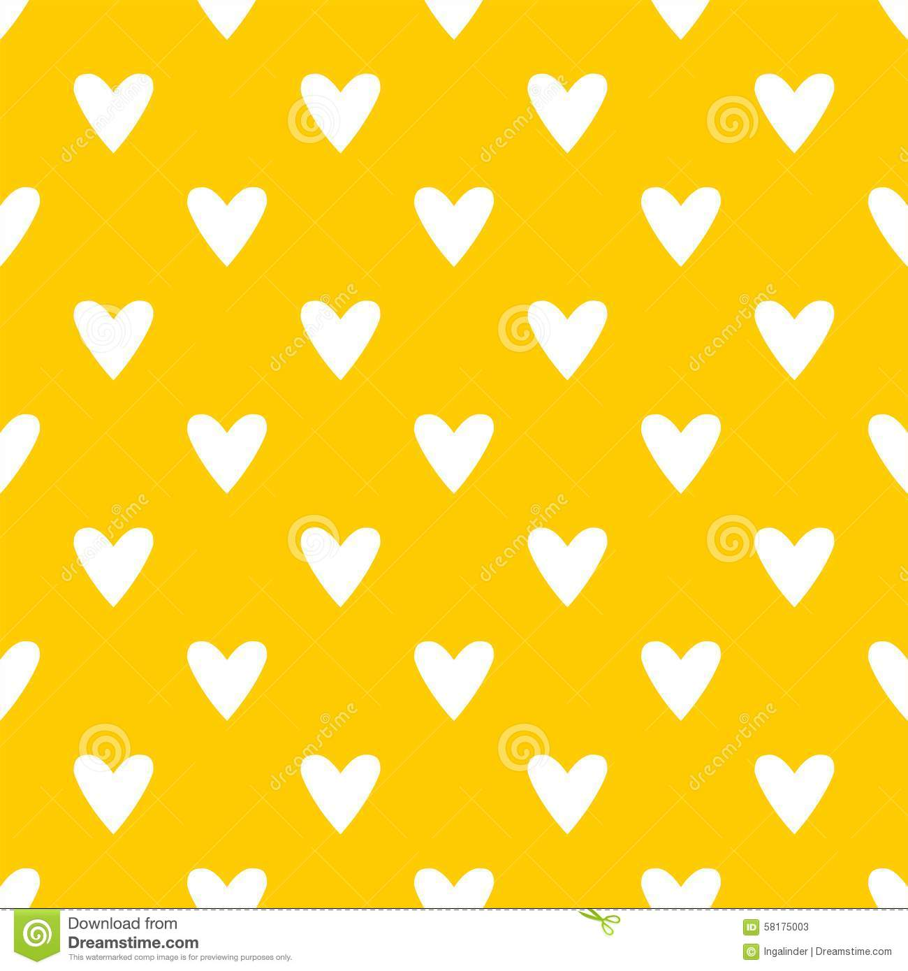 Tile Cute Vector Pattern With White Hearts On Yellow ...