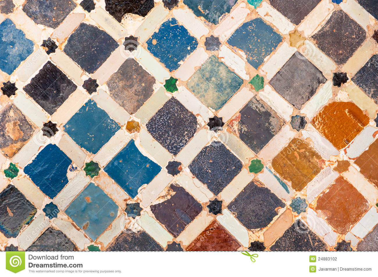 Tile Decoration Alhambra Palace Spain Stock Illustration