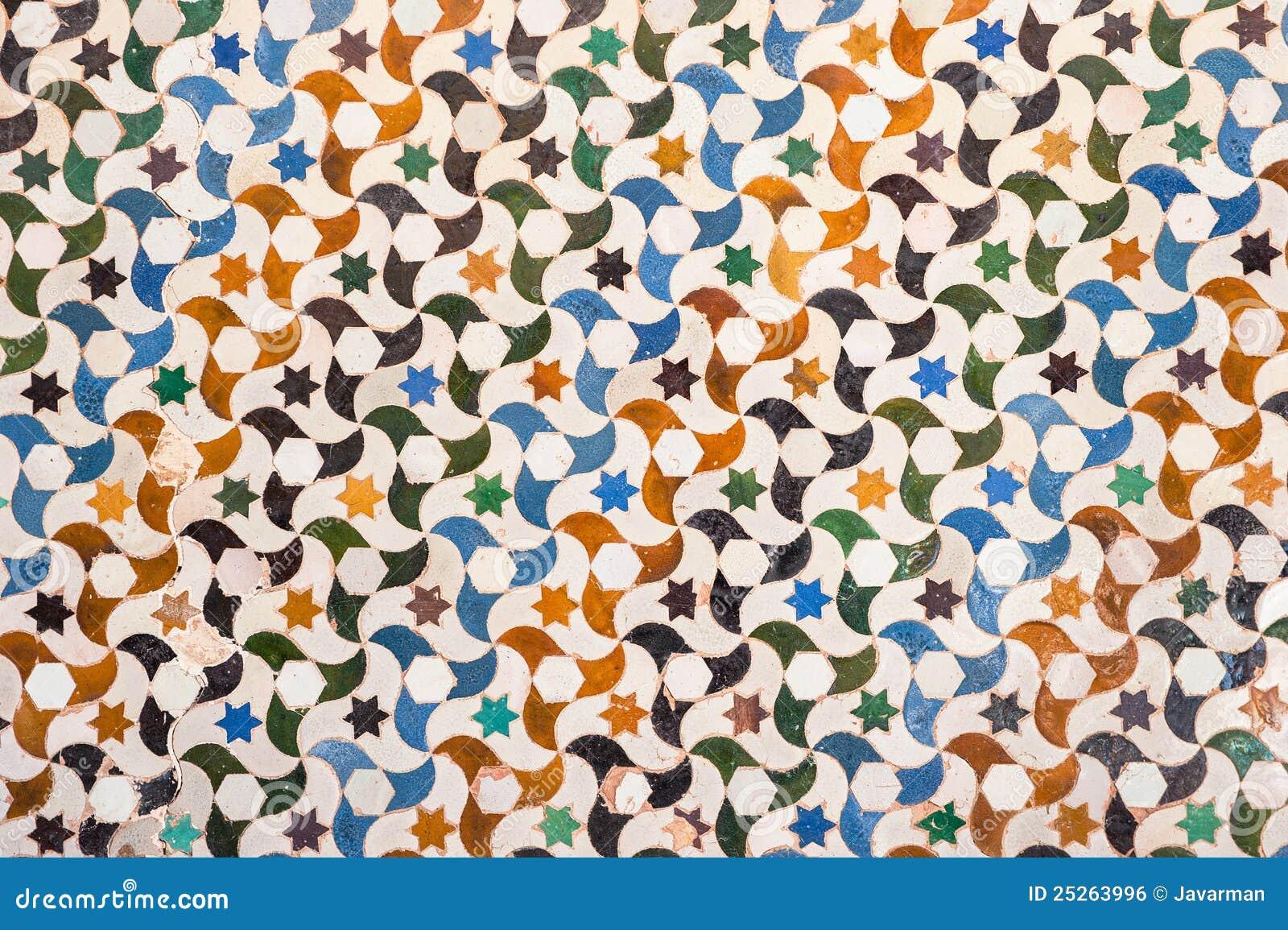 Tile decoration alhambra palace spain stock photo for Alhambra decoration