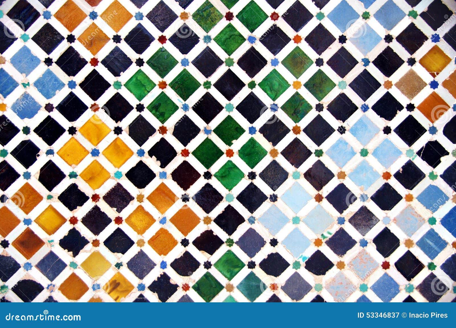Tile decoration alhambra palace stock image image 53346837 for Alhambra decoration