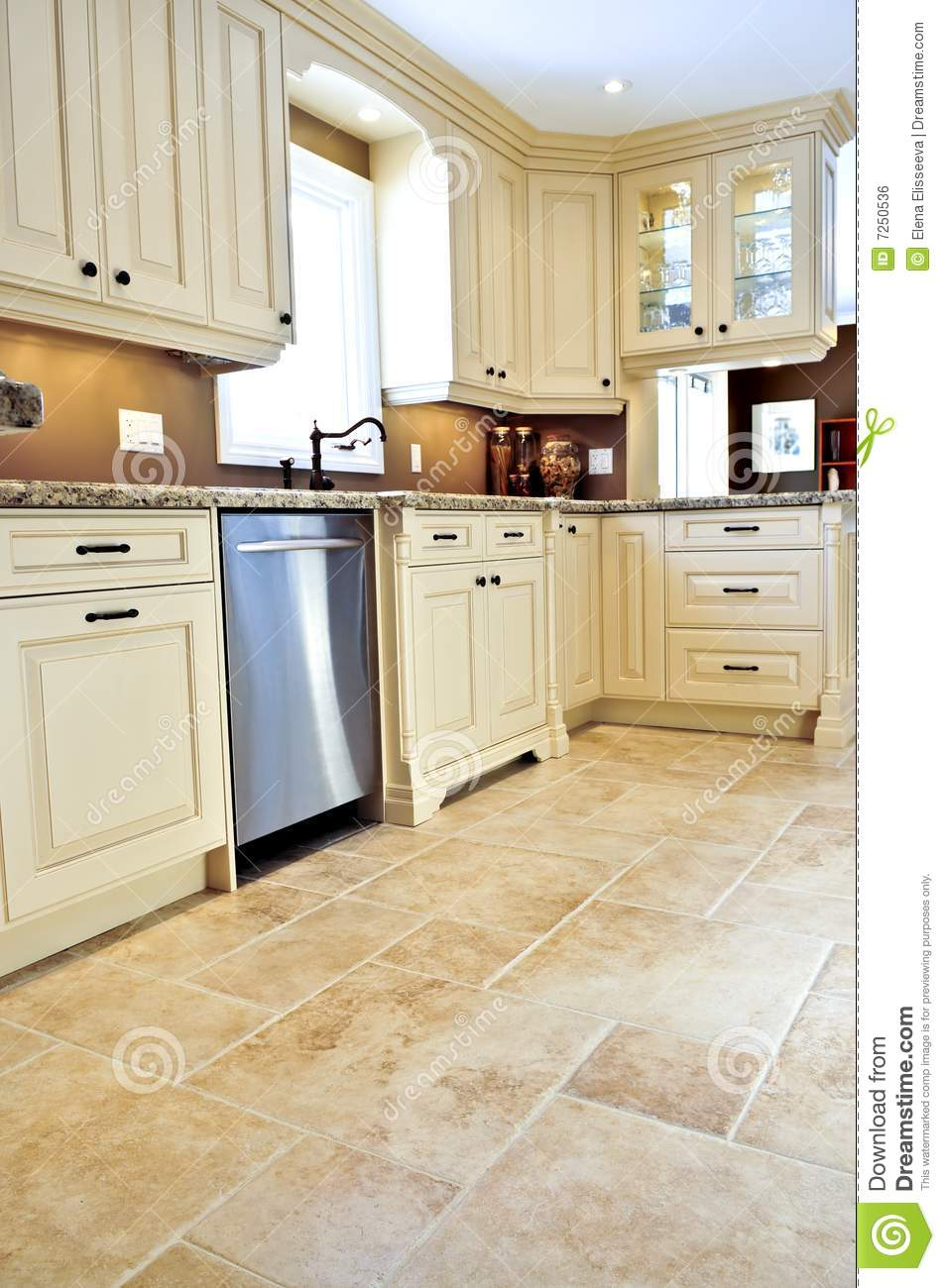 Tile Floor In Modern Kitchen Royalty Free Stock Image