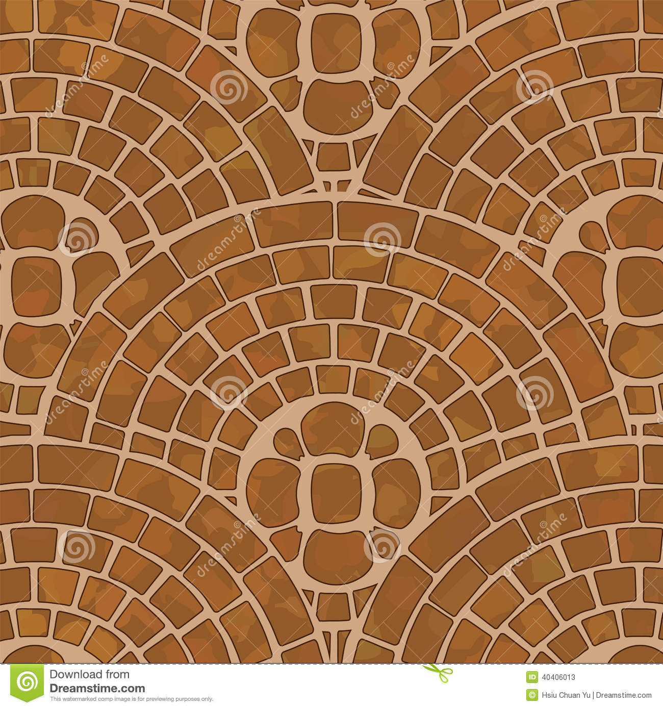 It is a texture of brown tile ground with mosaic pattern.