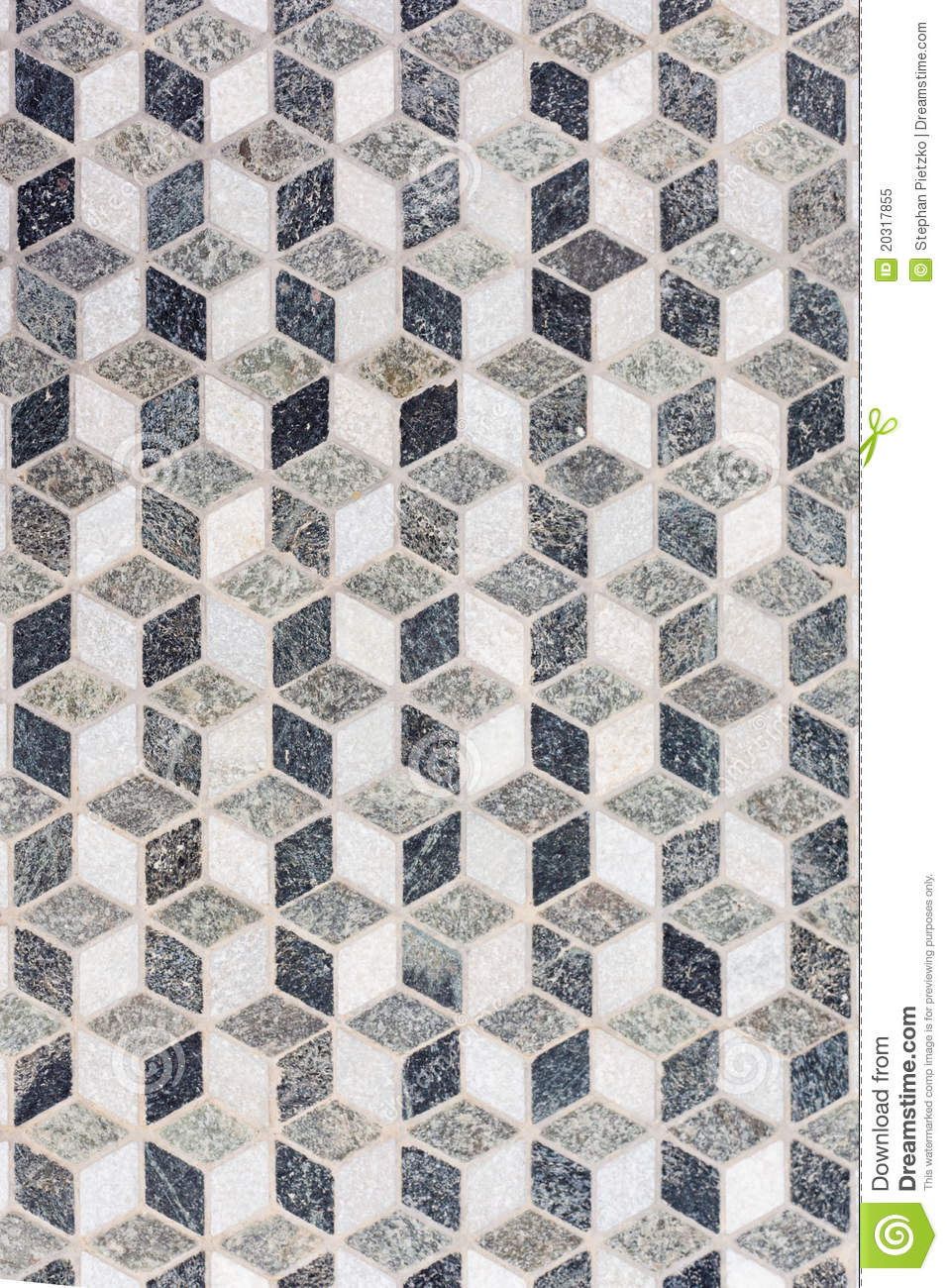 Tile Mosaic Forming 3d Geometric Pattern Stock Image