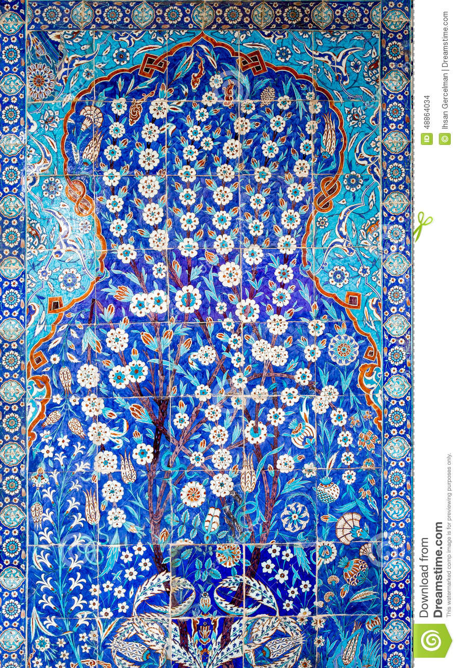 Tile Panel On Wall Of Rustem Pasa Mosque, Istanbul Stock Photo ...