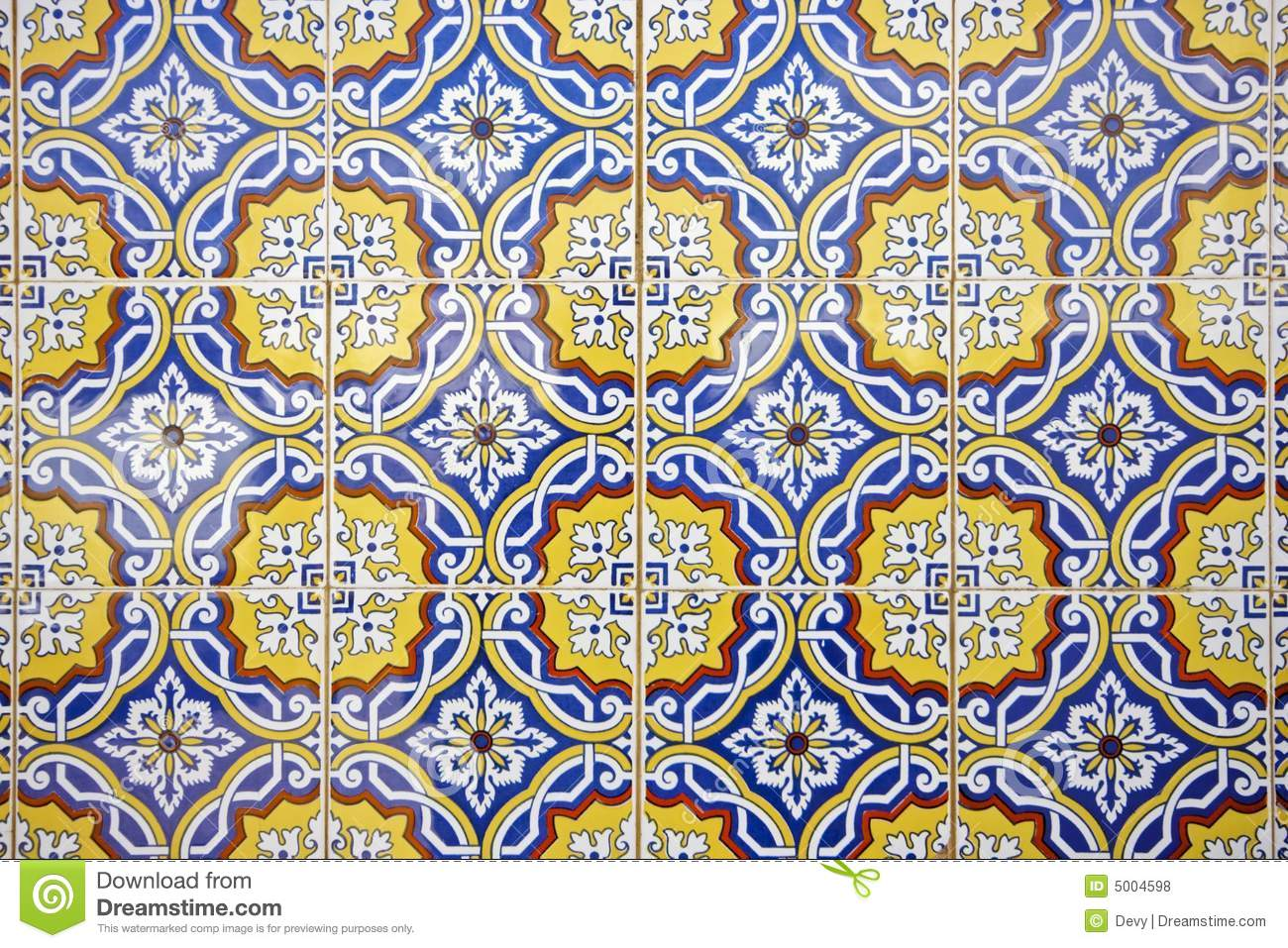 Tile Pattern In Blue Yellow And White Stock Photo Image