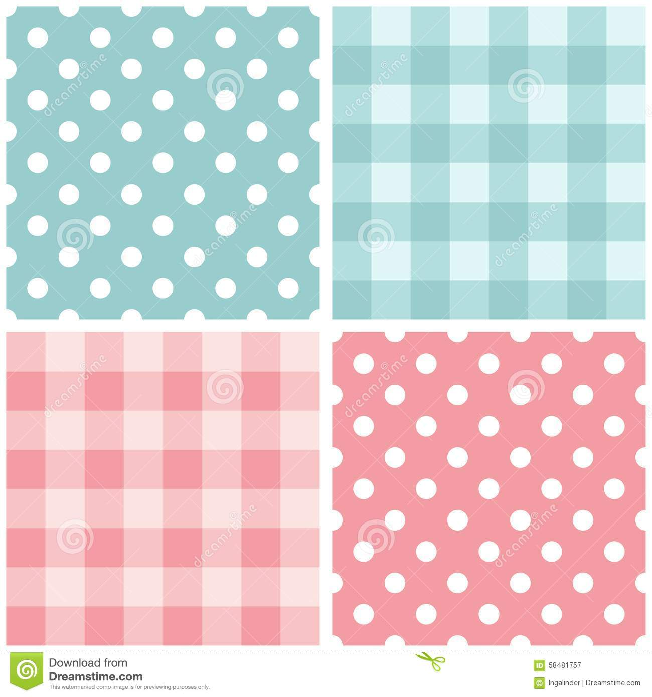 Tile Pink And Blue Vector Pattern Set With Polka Dots And