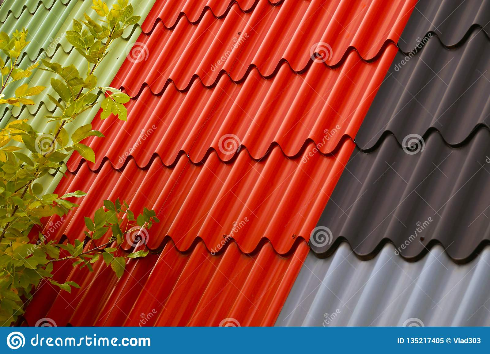 A Metal Lightweight Roofing And Walling Profile In Several Colors