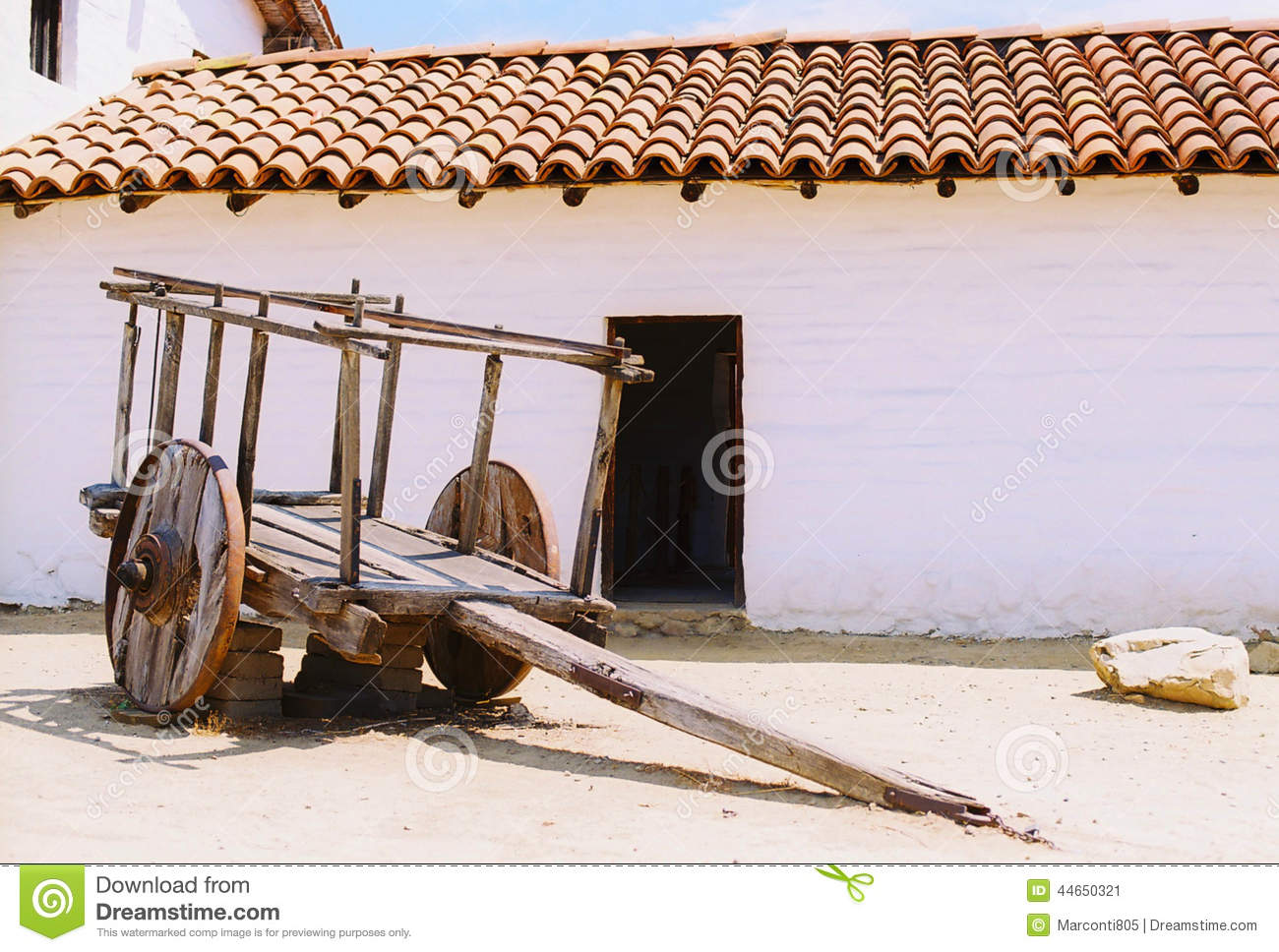 Tile Roof Adobe Building With Old Cart Film Book Cover