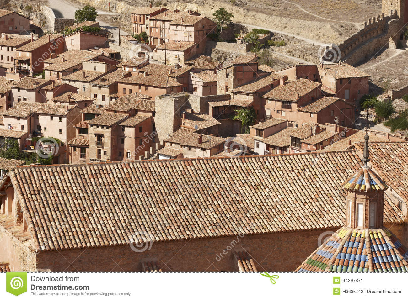 Tile Roof Detail In The Picturesque Village Of Albarracin