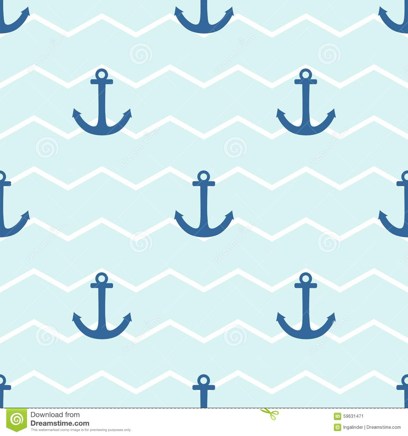 Nautical Color Tile Sailor Vector Pattern With Anchor On White And Blue