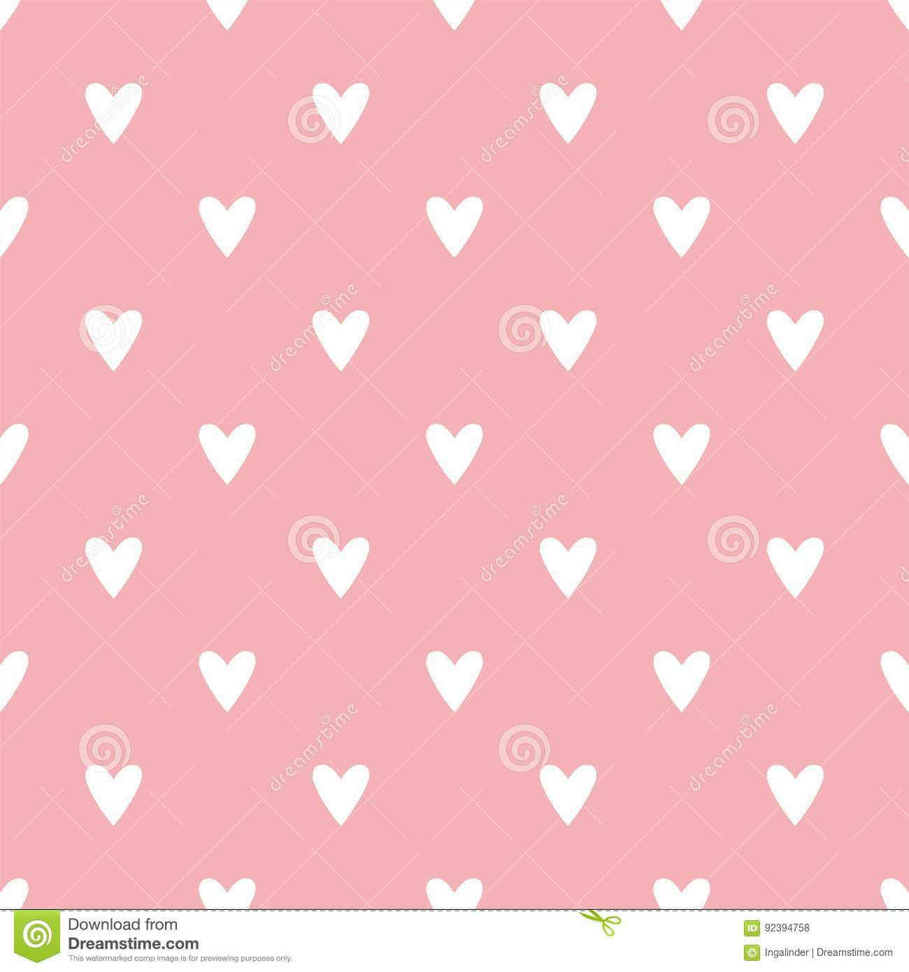 Tile Cute Vector Pattern With White Hearts On Pastel Pink Background For Wallpaper
