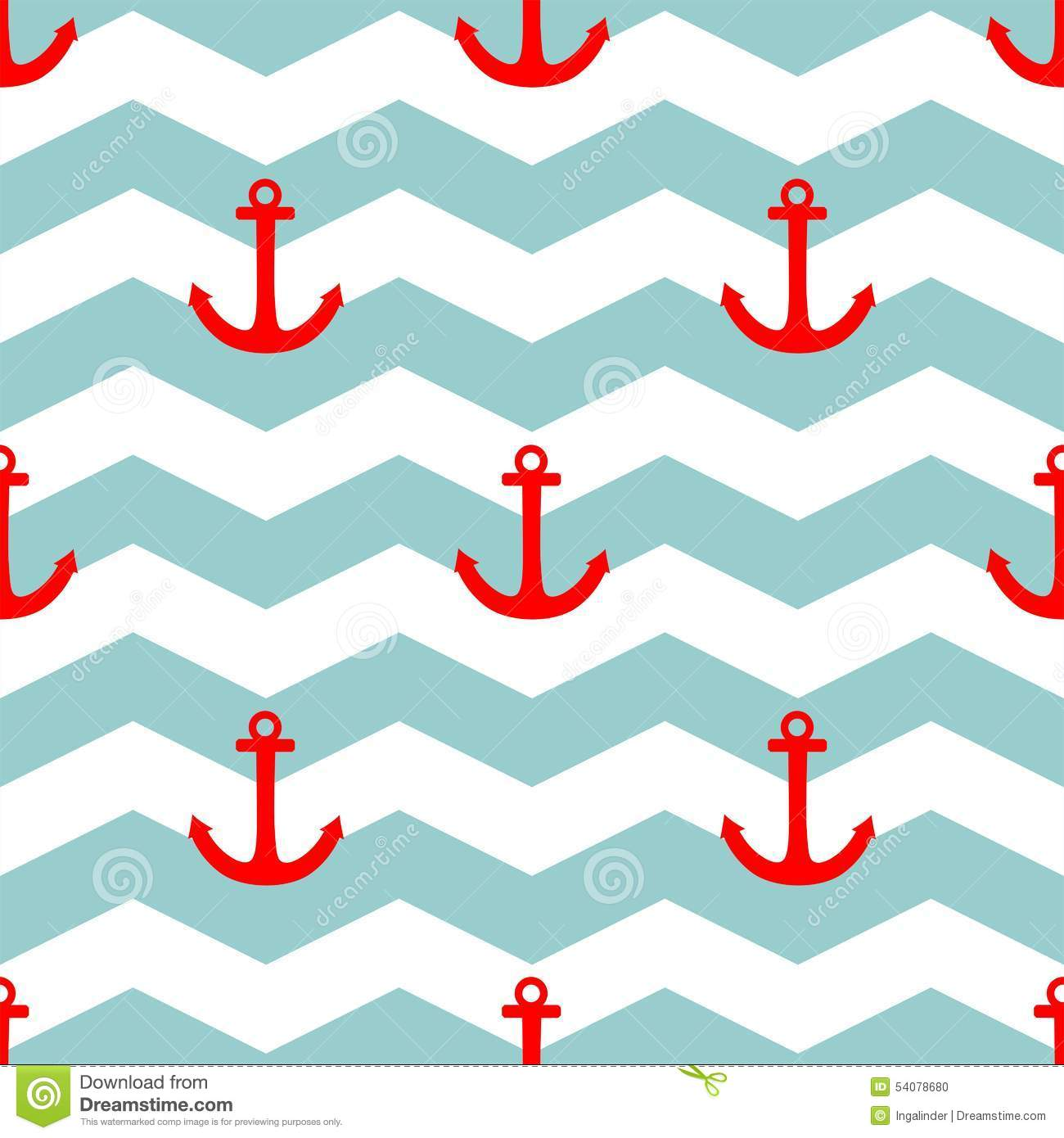 Tile Sailor Vector Pattern With Red Anchor On White And Blue Stripes ...