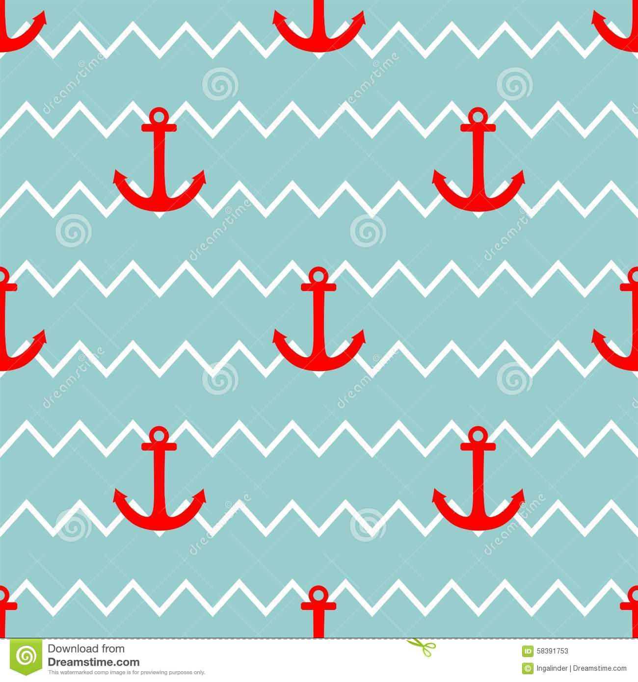 Tile Sailor Vector Pattern With Red Anchor On White And