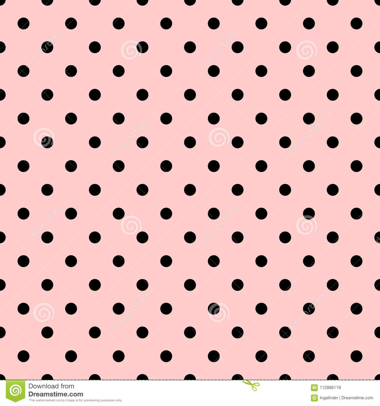 Tile Vector Pattern With Black Polka Dots On Pastel Pink Background For Decoration Wallpaper