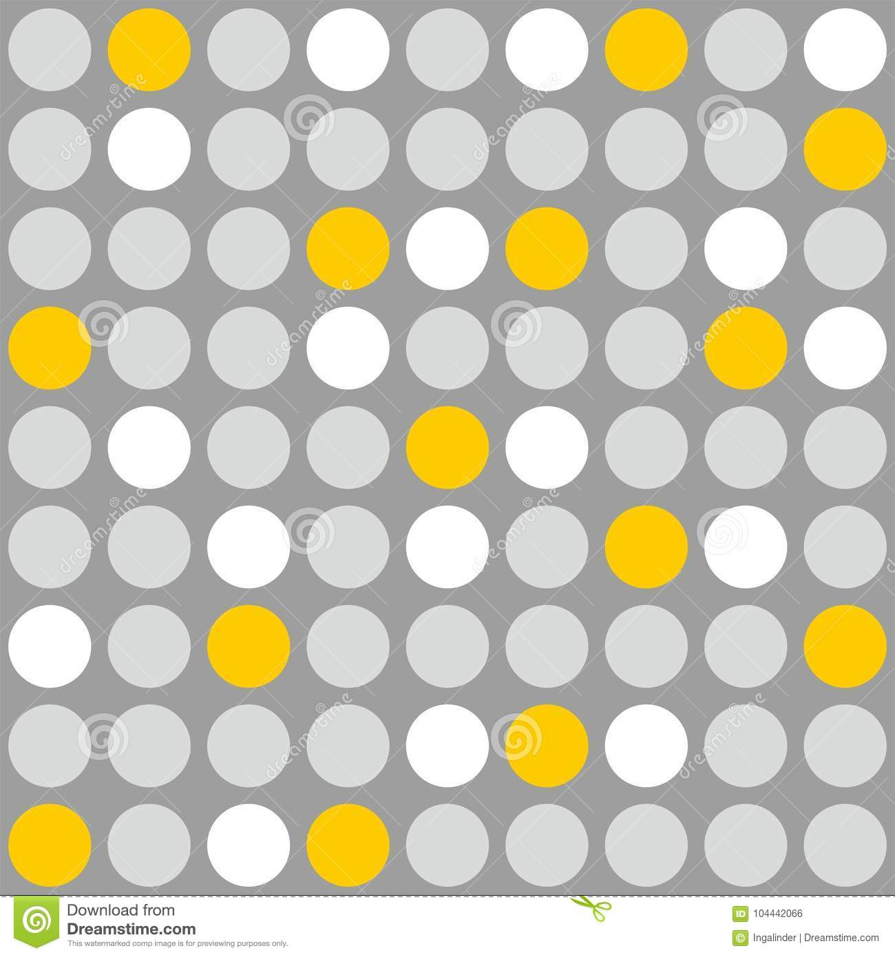 Tile Vector Pattern With Grey, White And Yellow Polka Dots ...