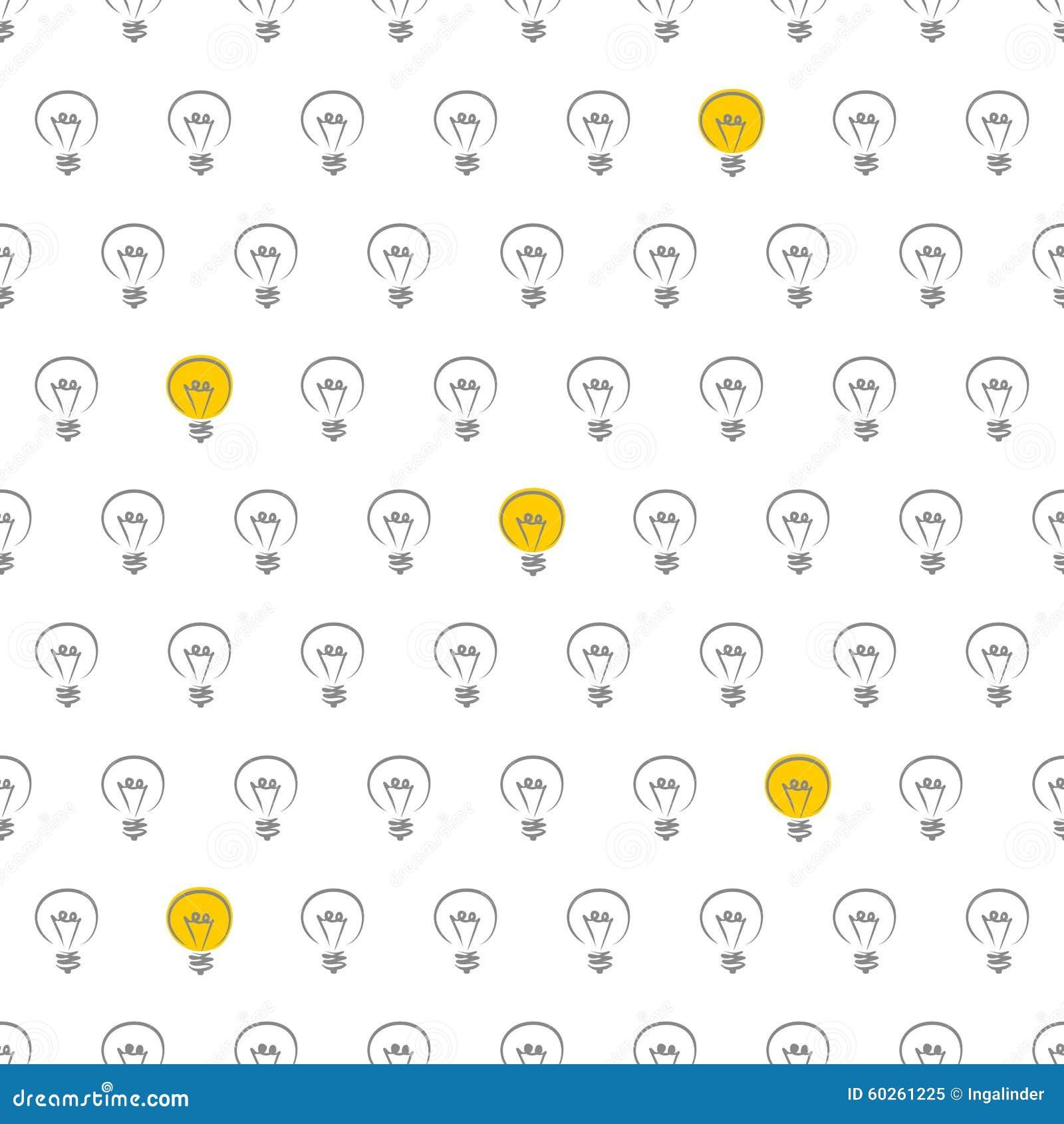 Light Bulb Wallpaper: Tile Vector Pattern With Light Bulbs On White Background