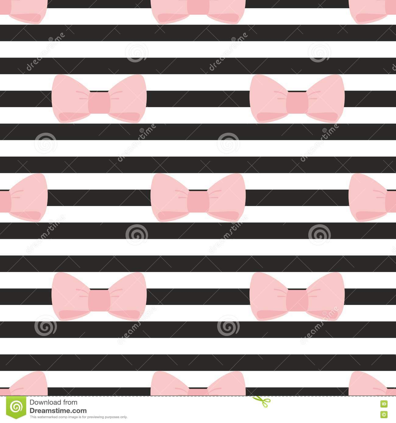 Tile Vector Pattern With Pastel Pink Bows On A Black And