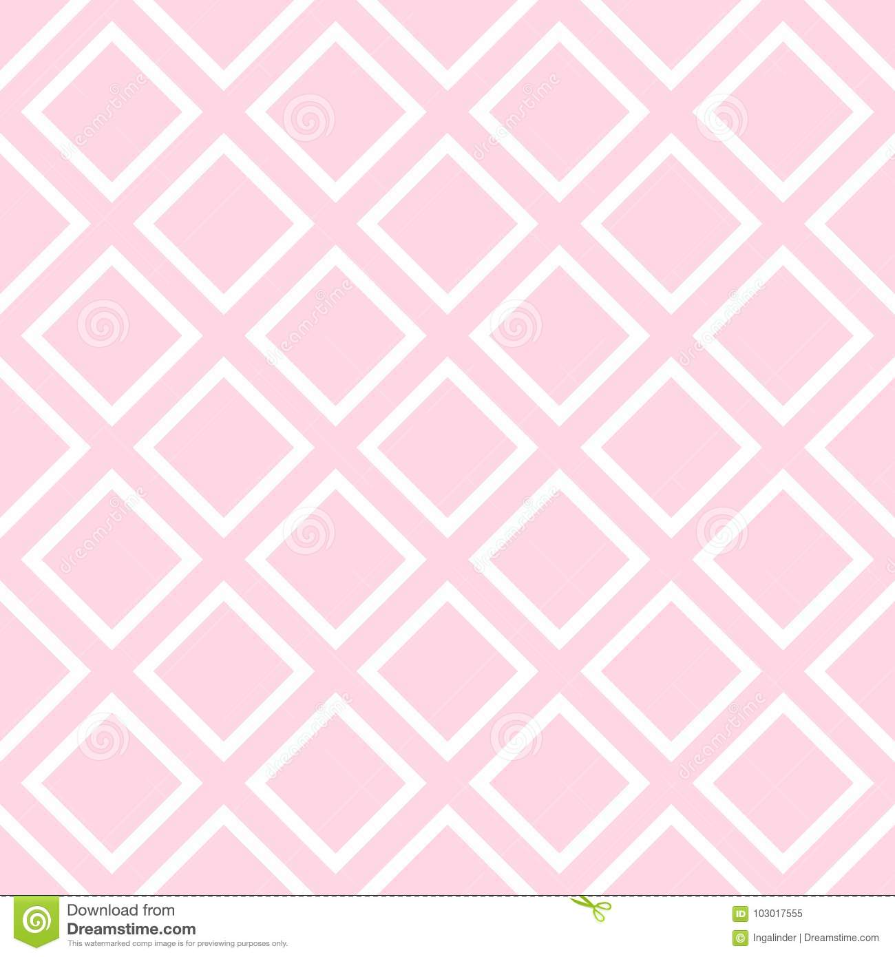 Tile vector pattern with pastel pink and white background for seamless decoration wallpaper
