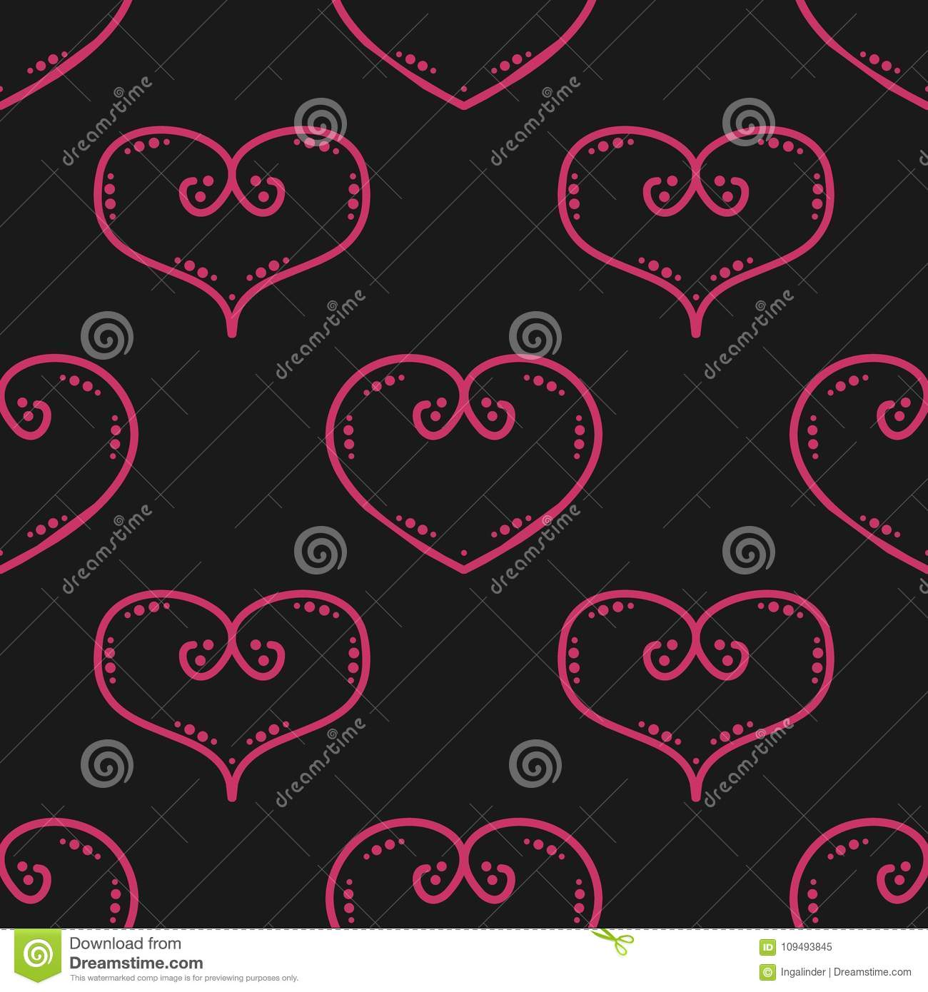 Tile Vector Pattern With Pink Hearts On Black Background