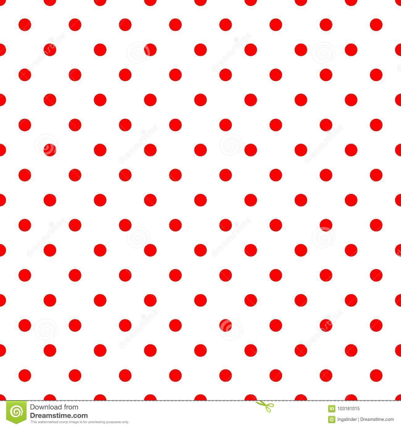 Tile Vector Pattern With Red Polka Dots On White Background