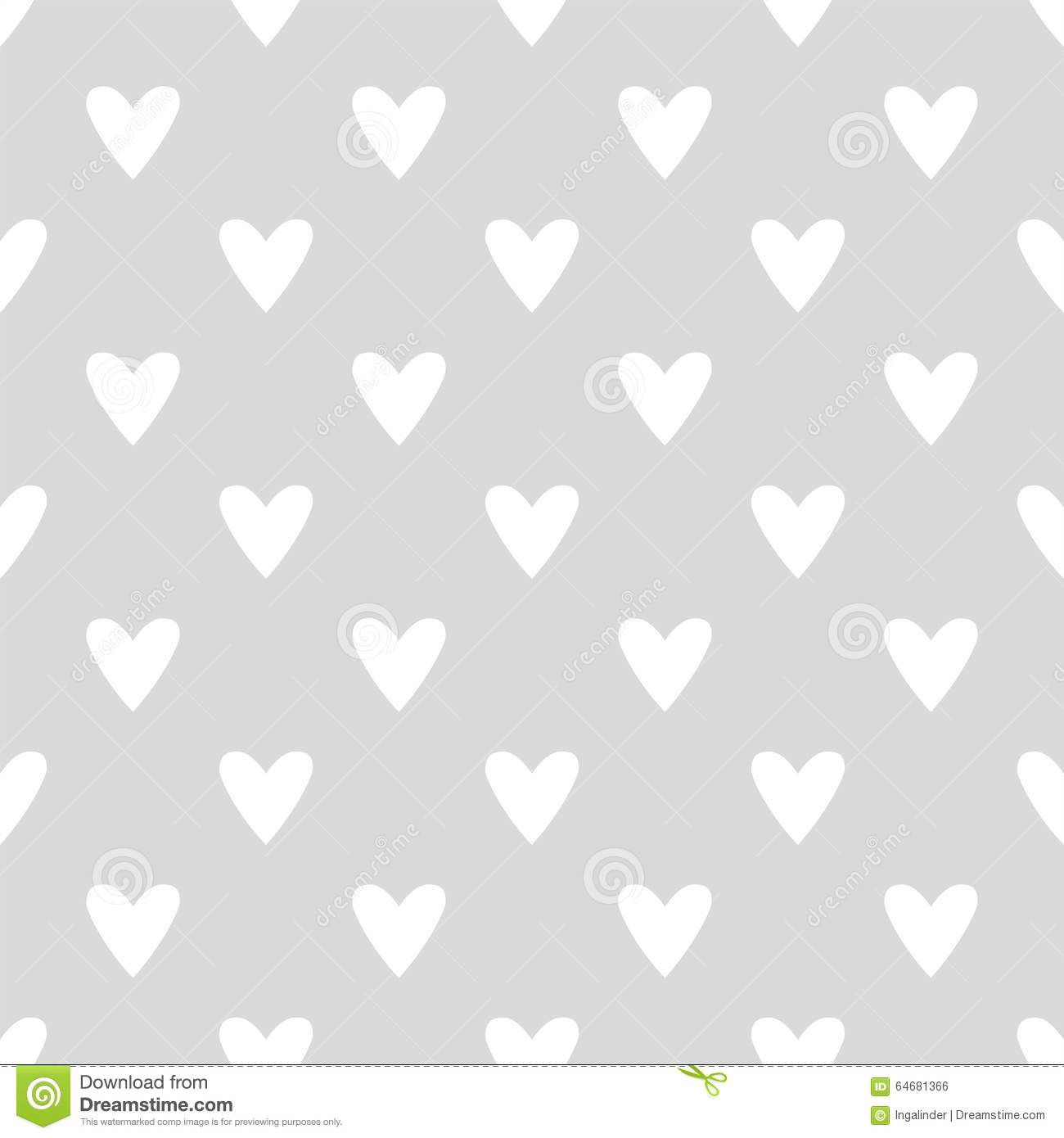tile vector pattern with white hearts on grey background