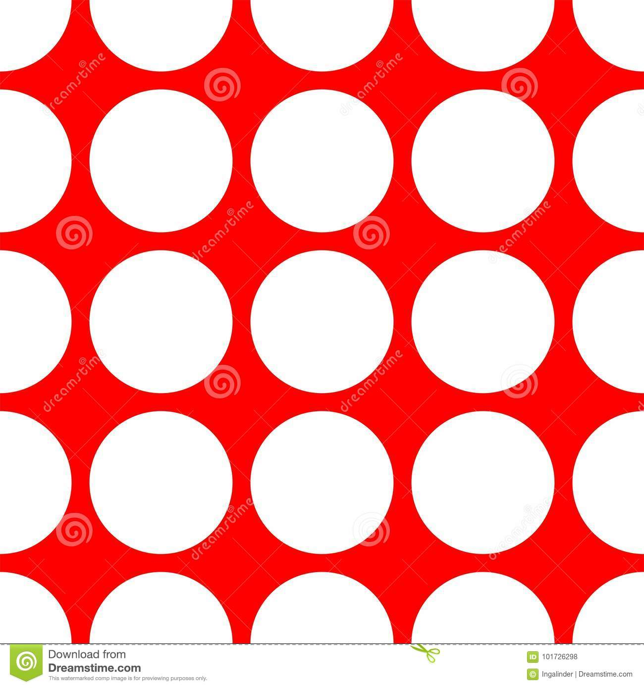 Tile Vector Pattern With White Polka Dots On Red Background For Decoration Wallpaper
