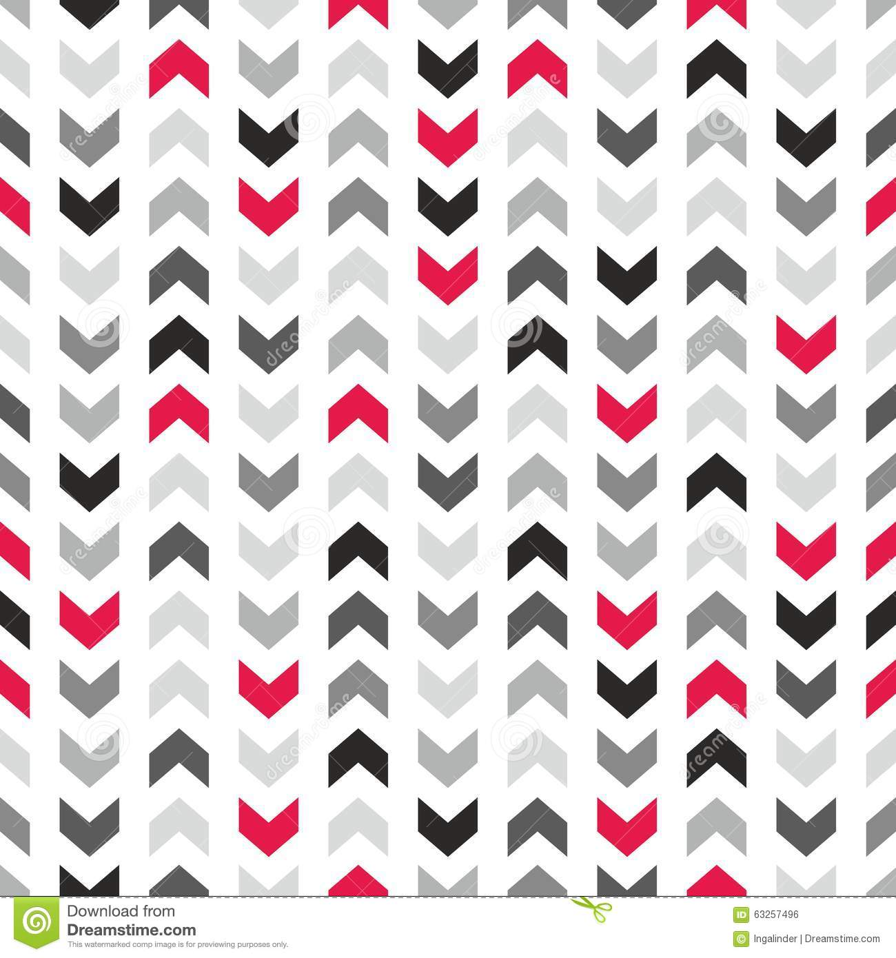 Tile Vector Pattern With Zig Zag Arrows On White