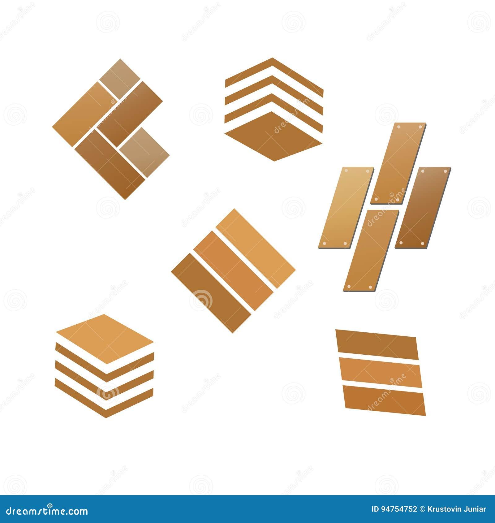 Tile Wooden Flooring Logo Set Stock Vector - Illustration ...