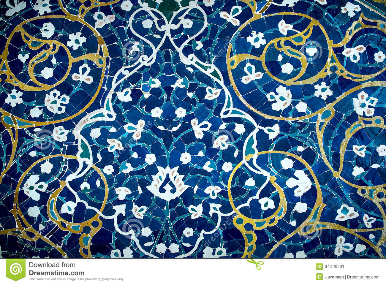 Tiled Background Oriental Ornaments From Isfahan Mosque