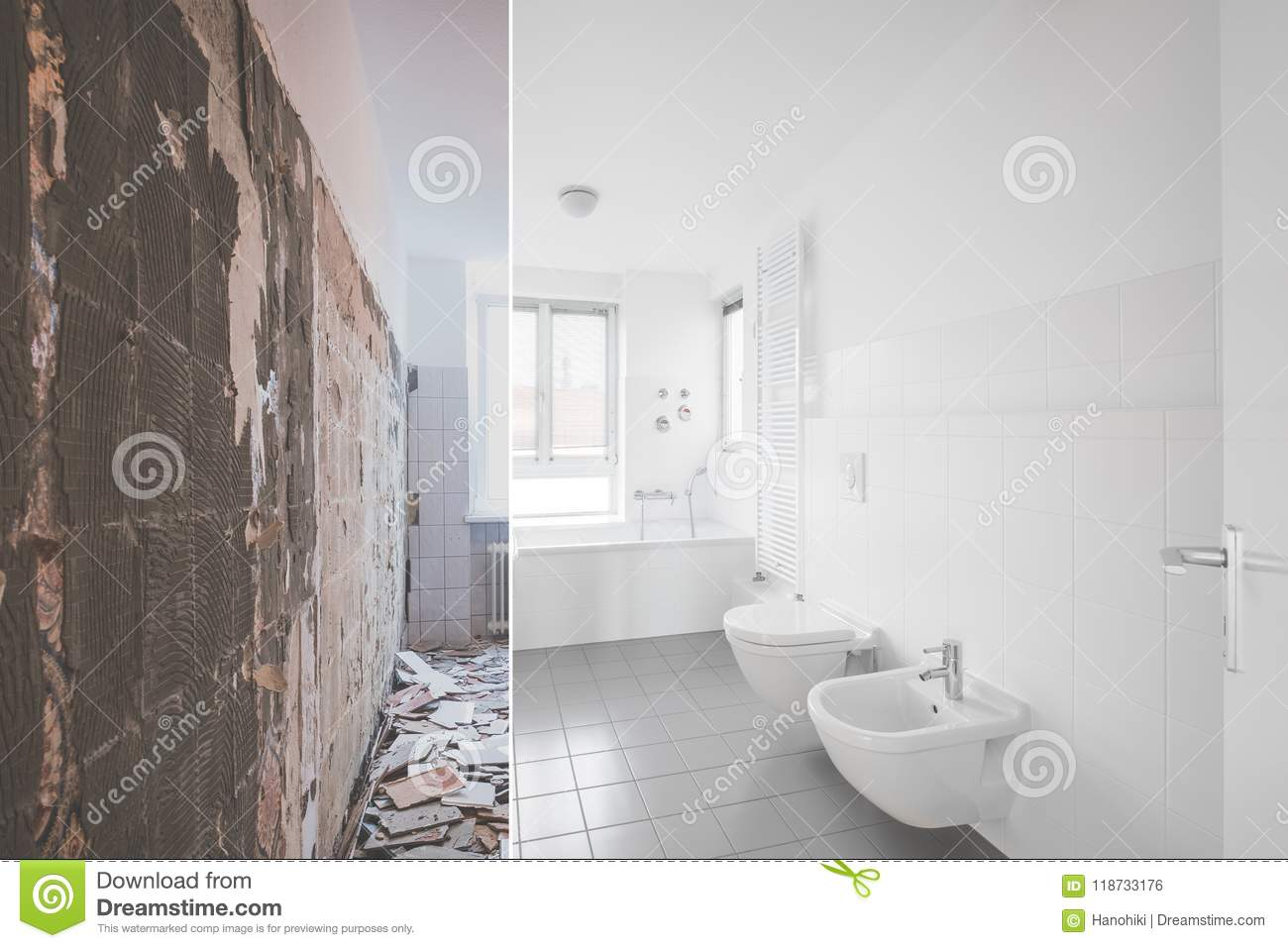 Tiled Bathroom Renovation - Before And After Restoration Stock Photo ...