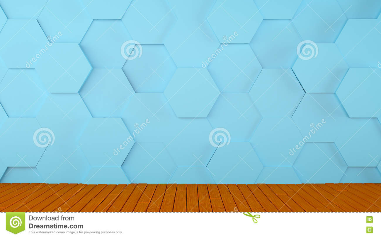 Tiled Blue Wall And Wooden Floor Background Stock Illustration ...