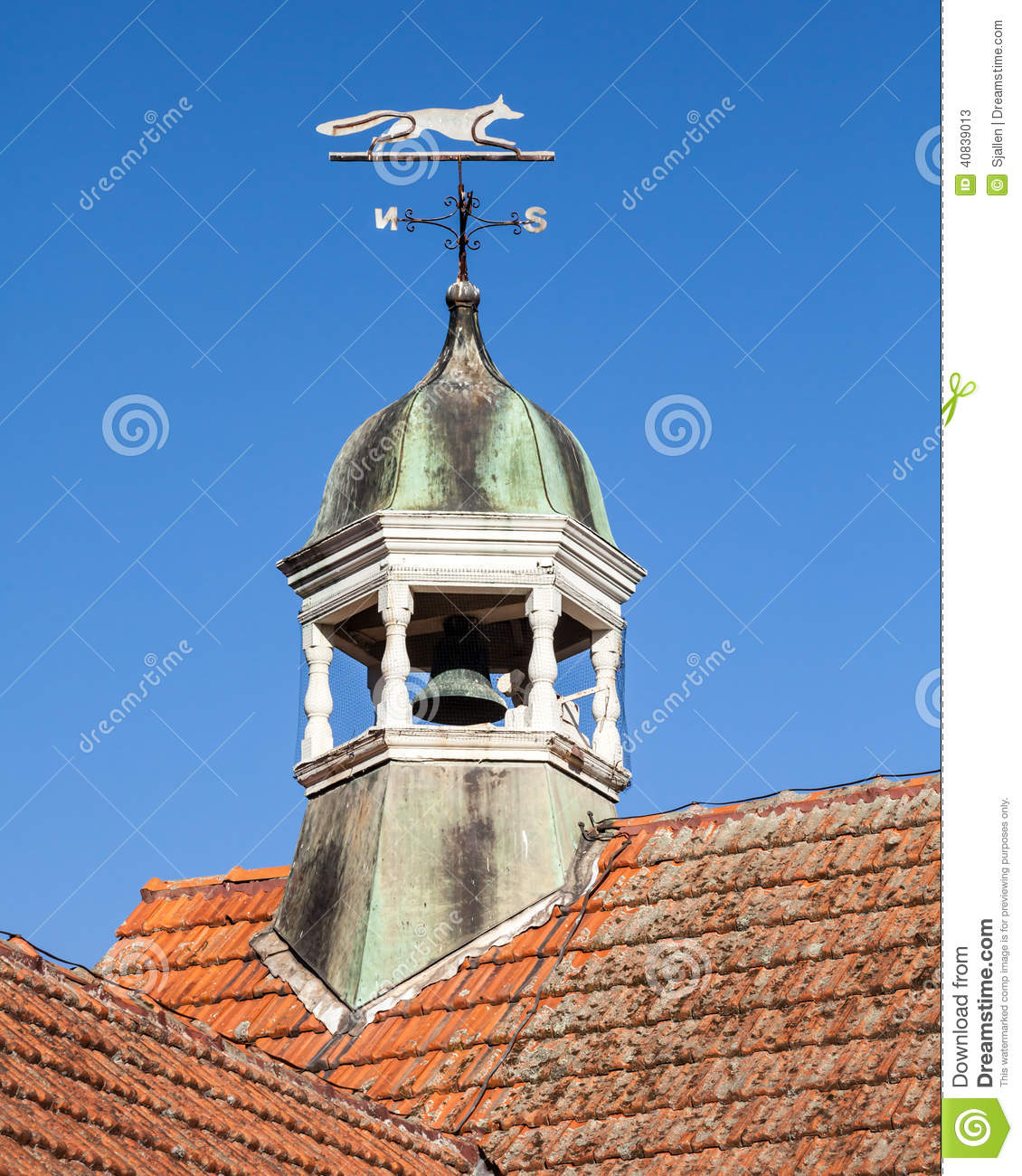 Tiled Orange Roof With Bell Tower And Fox Weather Vane
