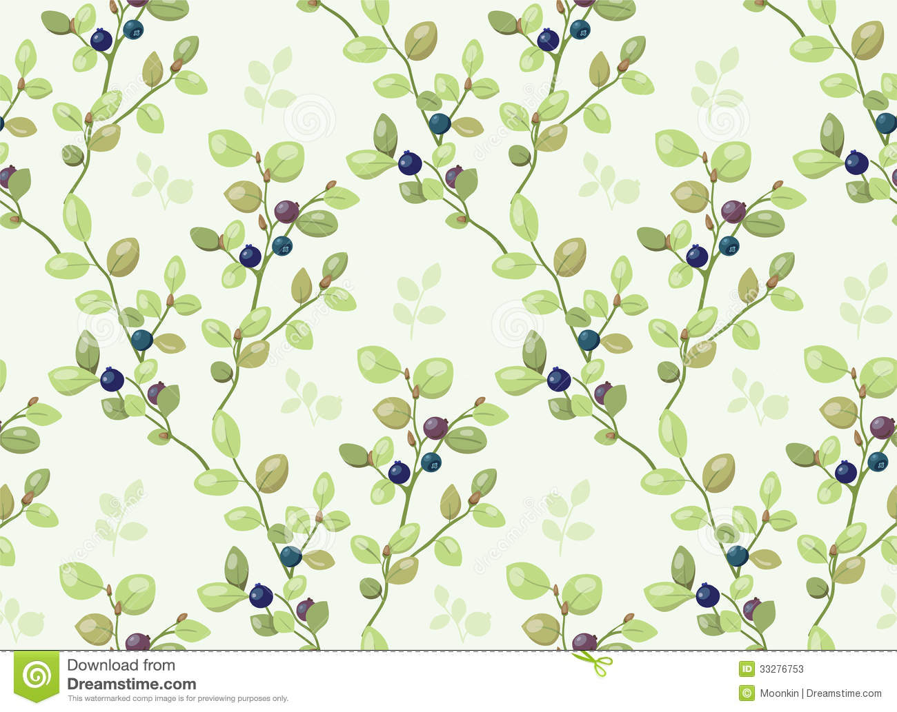 Tiled Pattern With Blueberry Bushes Stock Vector