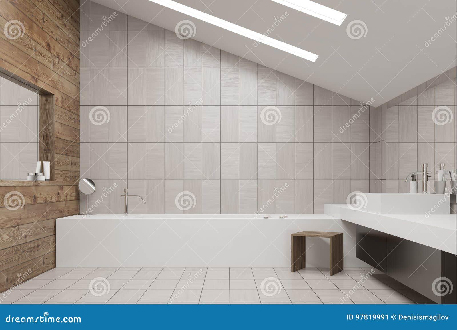 Tiled and wooden bathroom stock illustration. Illustration of design ...