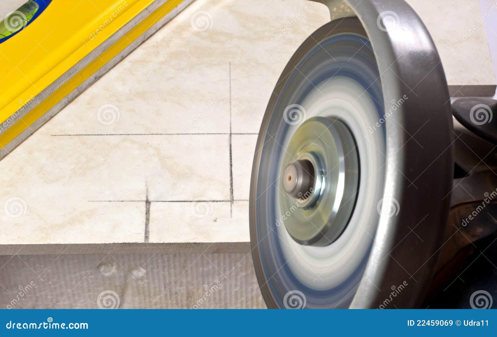 Tiler Cutting Tile Angle Grinder Stock Image Image Of Workman