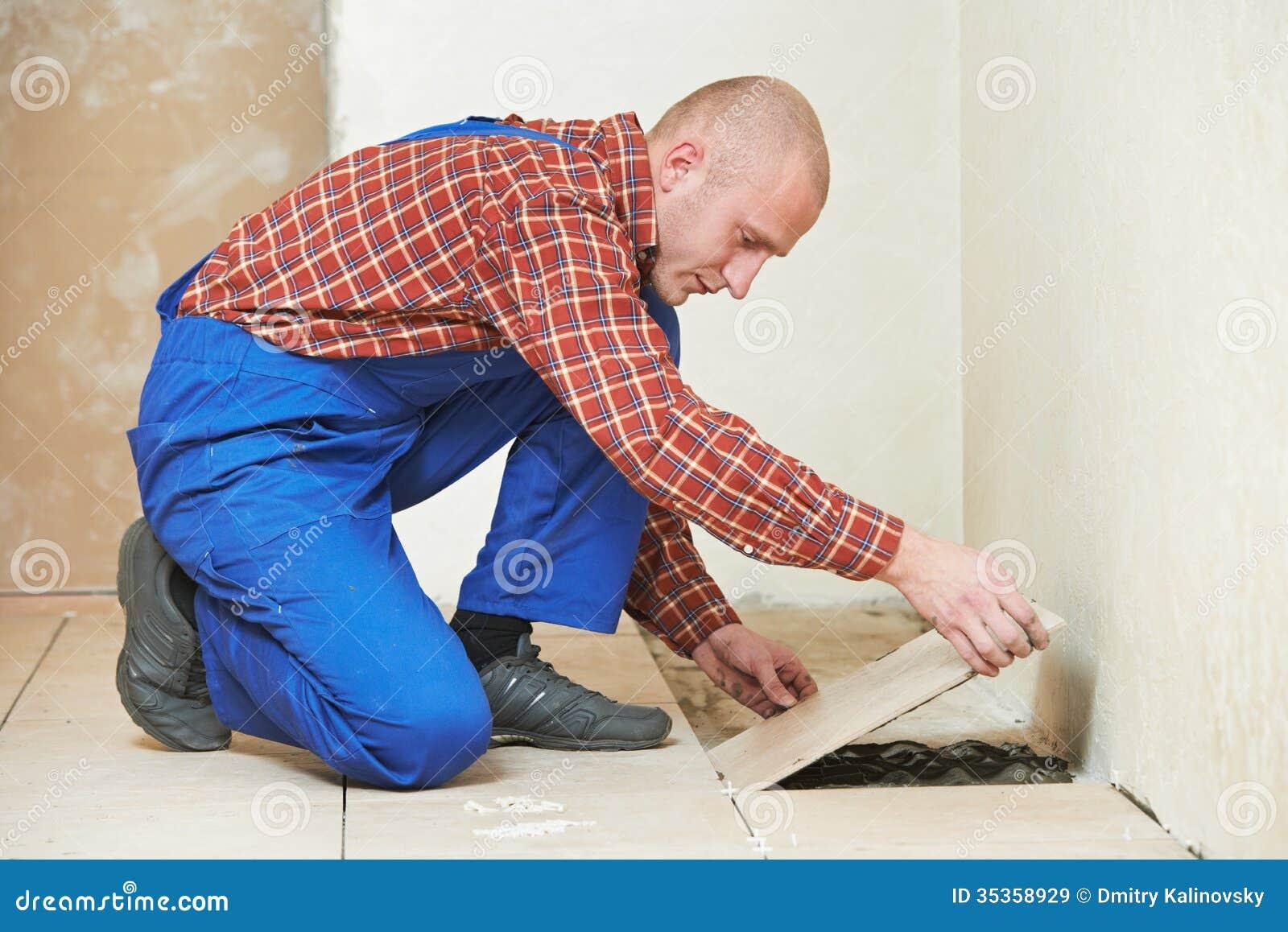 Tiler At Home Floor Tiling Renovation Work Royalty Free