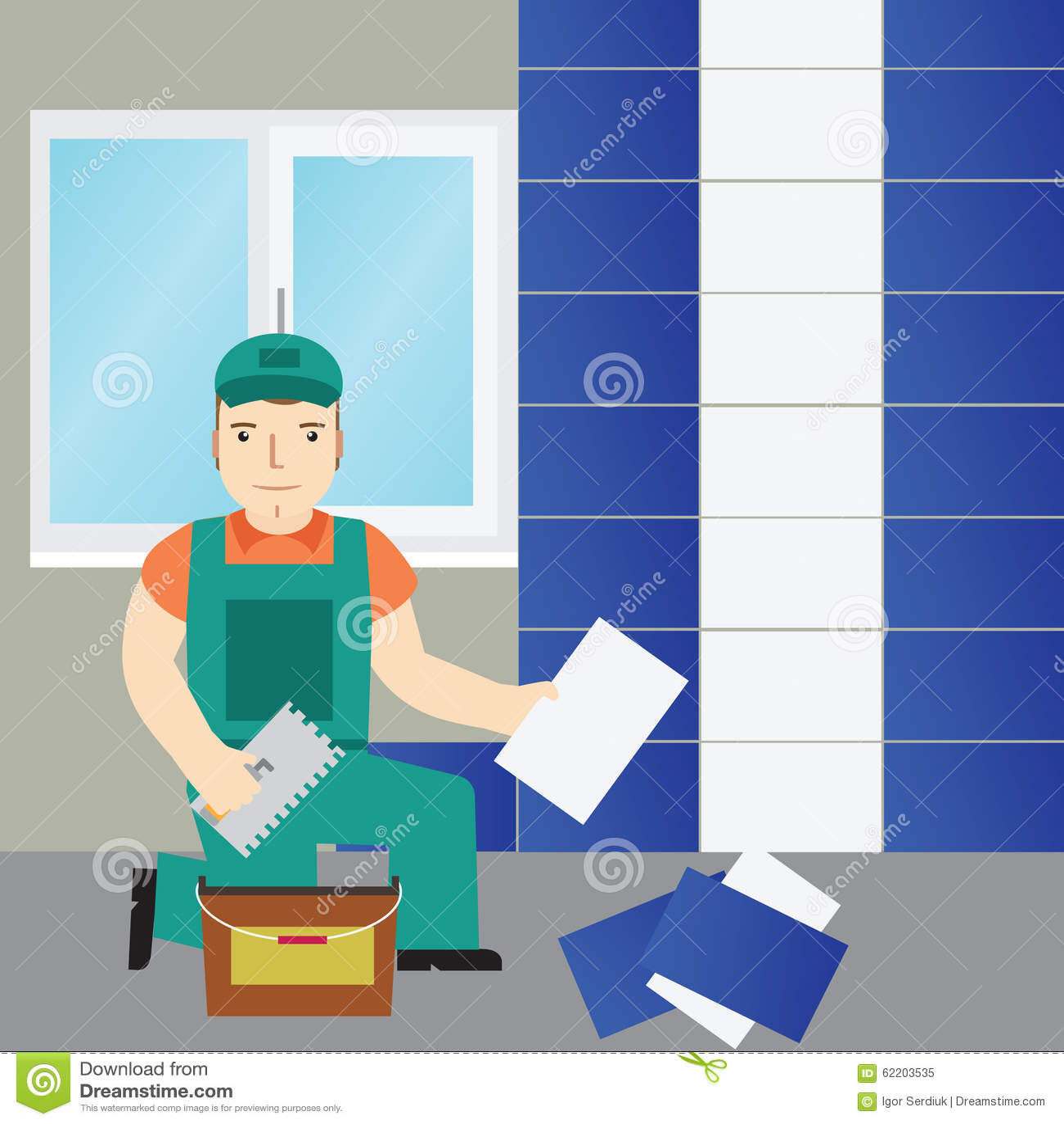 Icon Tile Work : Tiler work to lay down tile flat icon stock vector