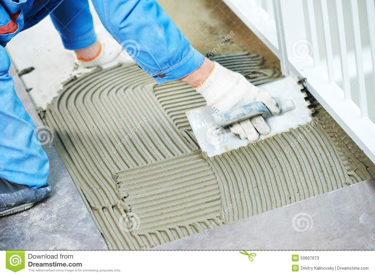 Tilers At Industrial Floor Tiling Renovation Stock Image Image Of