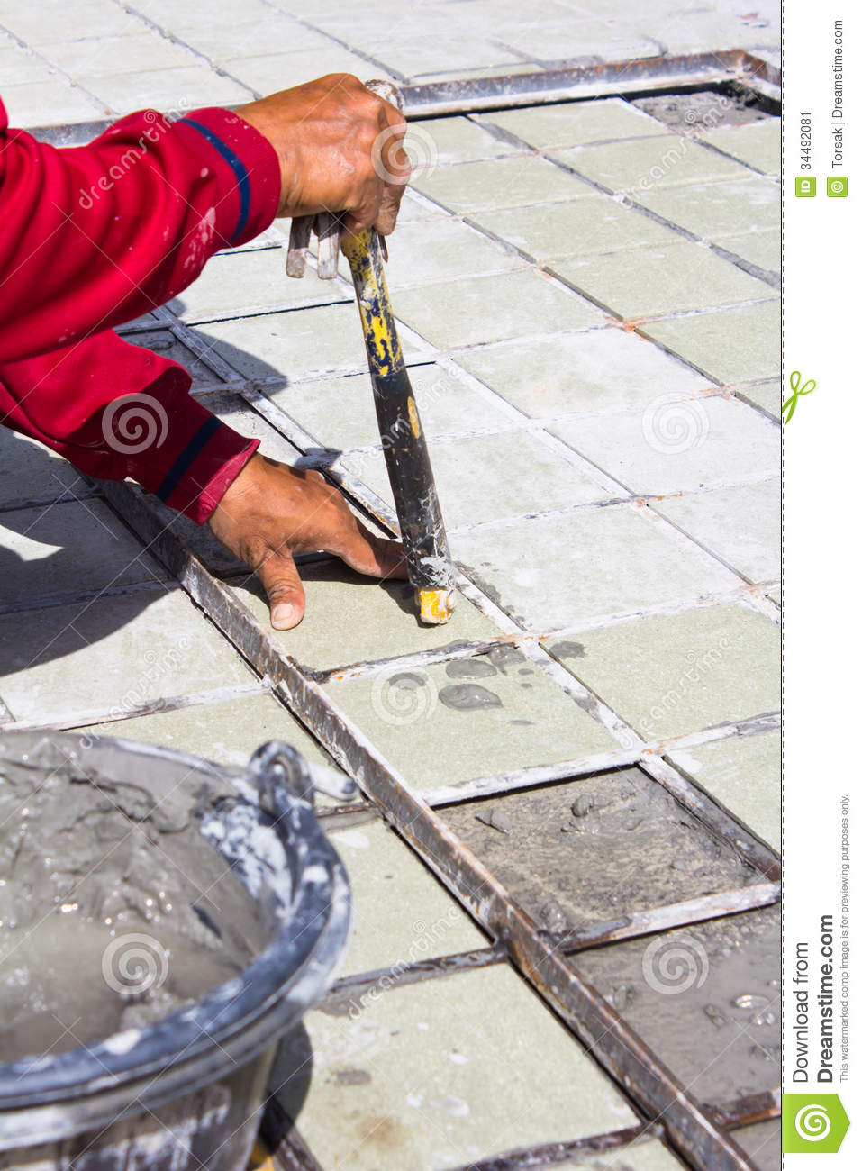 Floor Tile Workers : Tiles floor installation ceramic stock image