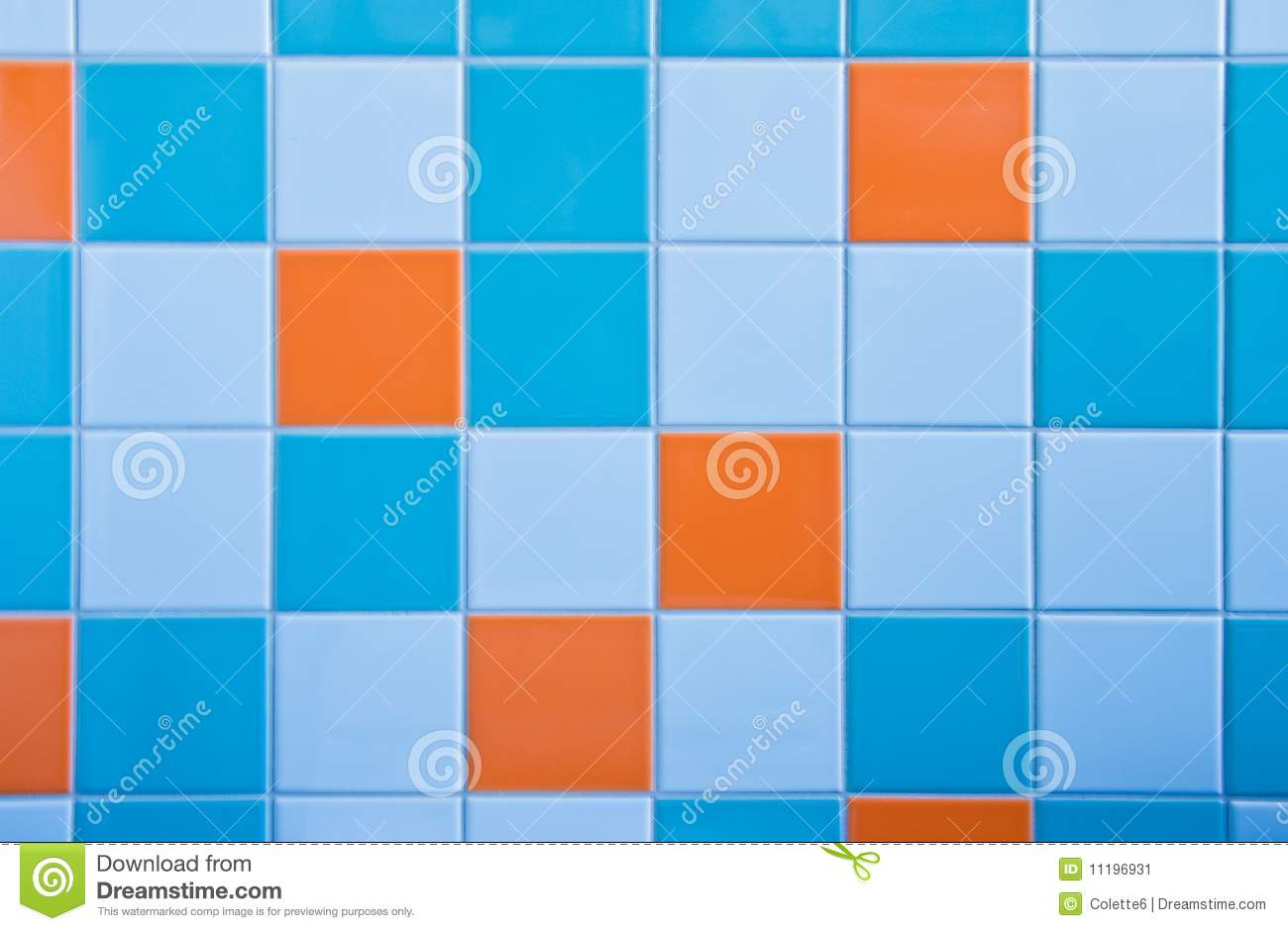 Tiles On Wall In Light Blue, Azure Blue And Orange Stock ...