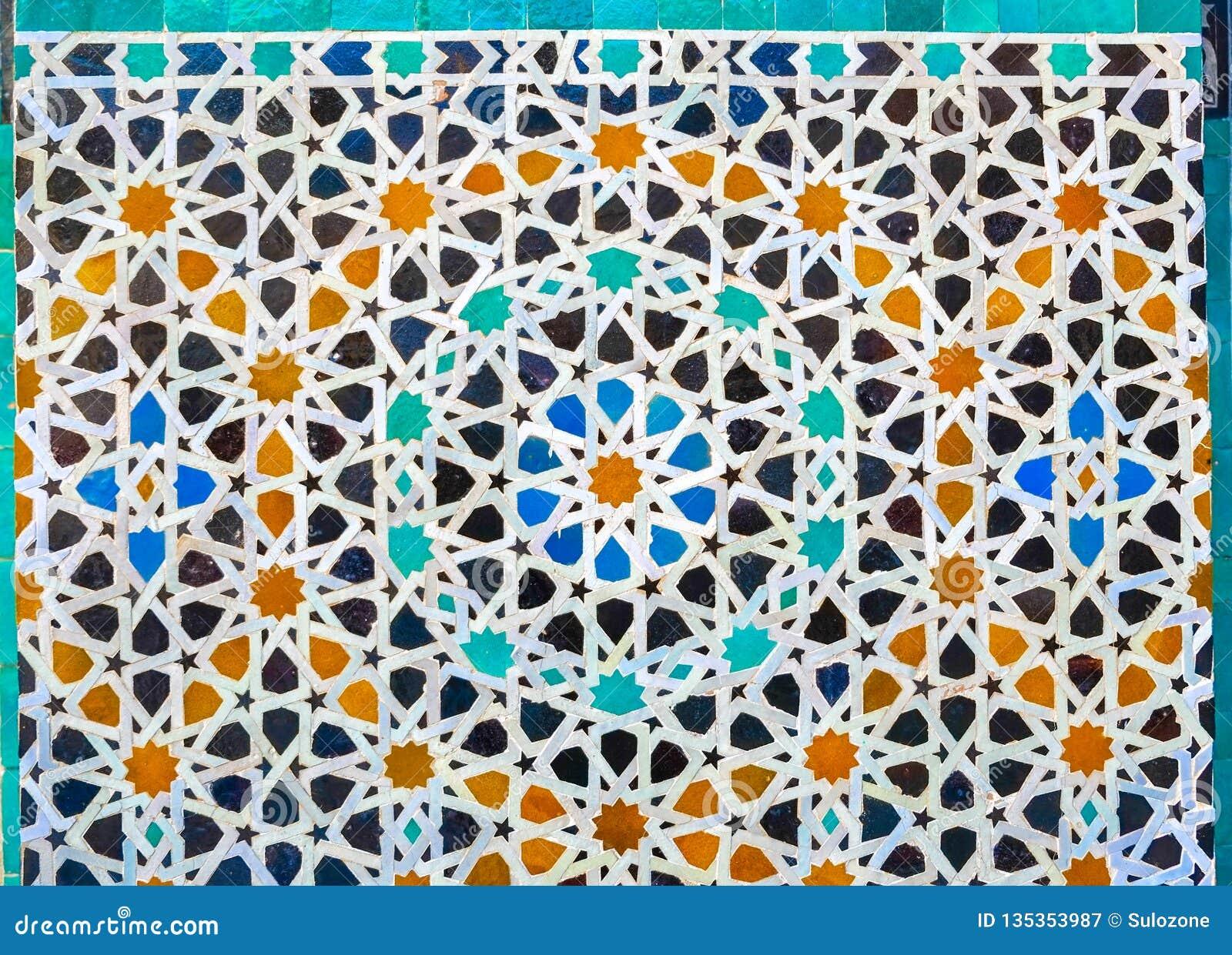 Tilework marocain de mosaïque de zellige sur le mur Fez Maroc
