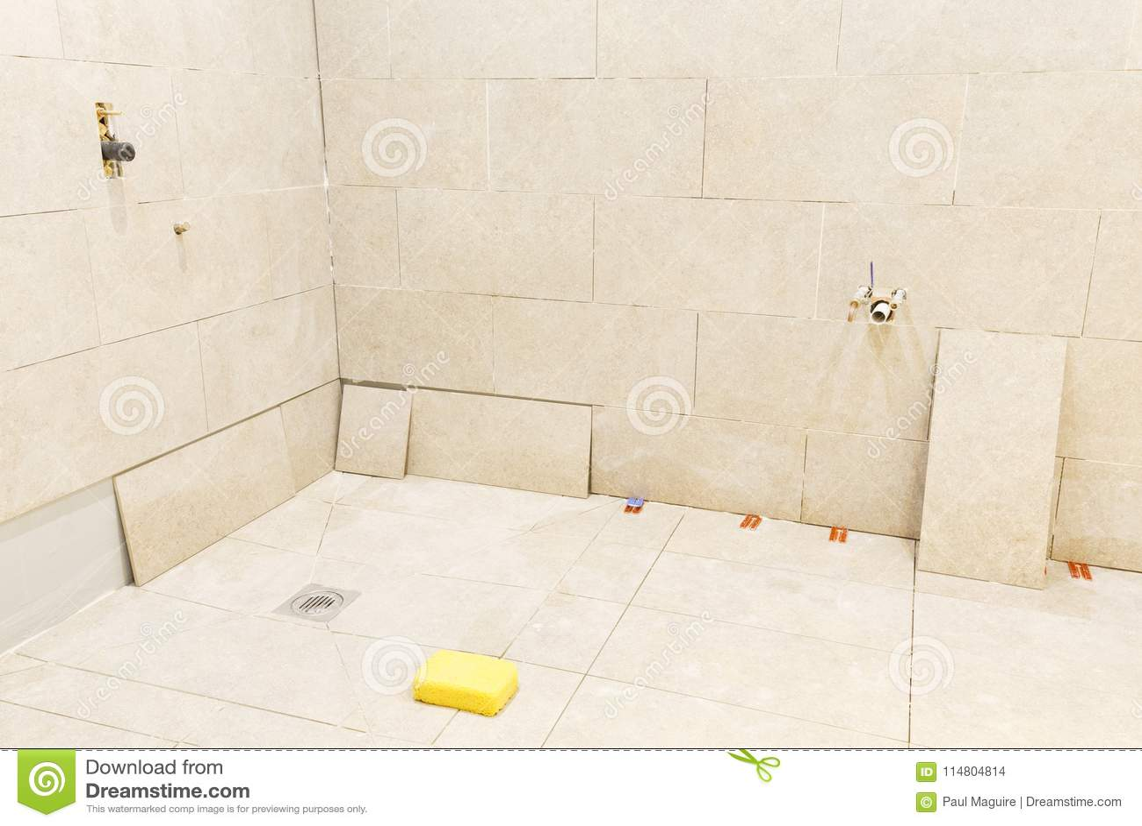 Tiling Work In A Bathroom Wet Room Stock Photo - Image of floors ...