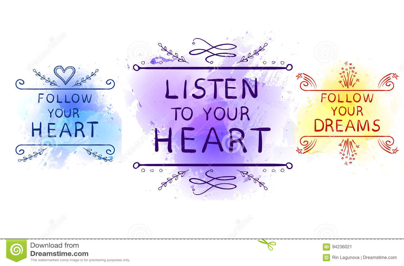 TILL DIN HJÄRTA, DINA DRÖMMAR, DIN HJÄRTAtext på målarfärgfärgstänkbakgrunden, LYSSNAR FÖLJER FÖLJER hand skissade typografiska