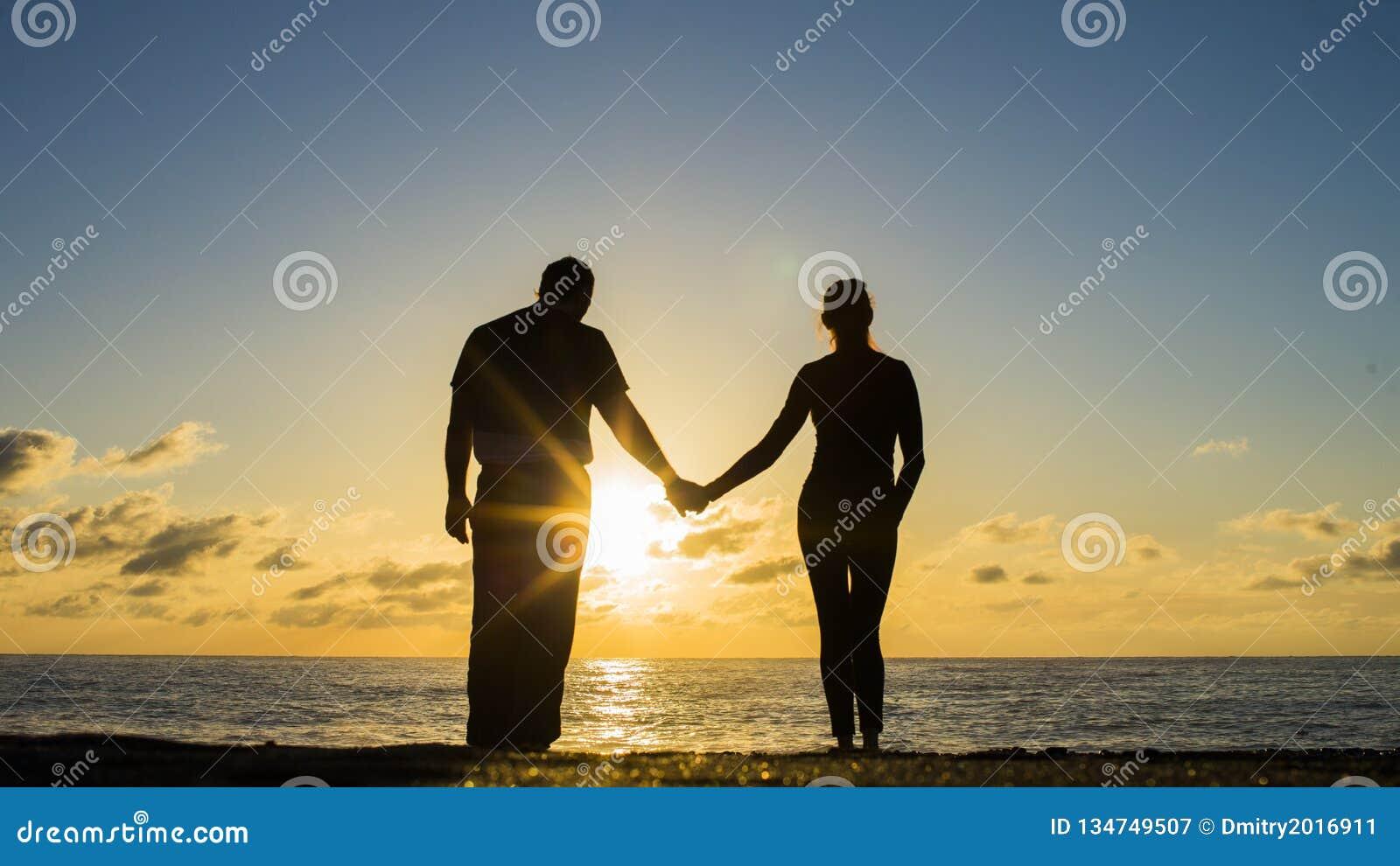 Tillbaka sikt av en krama och hållande ögonen på sol för parkontur på stranden