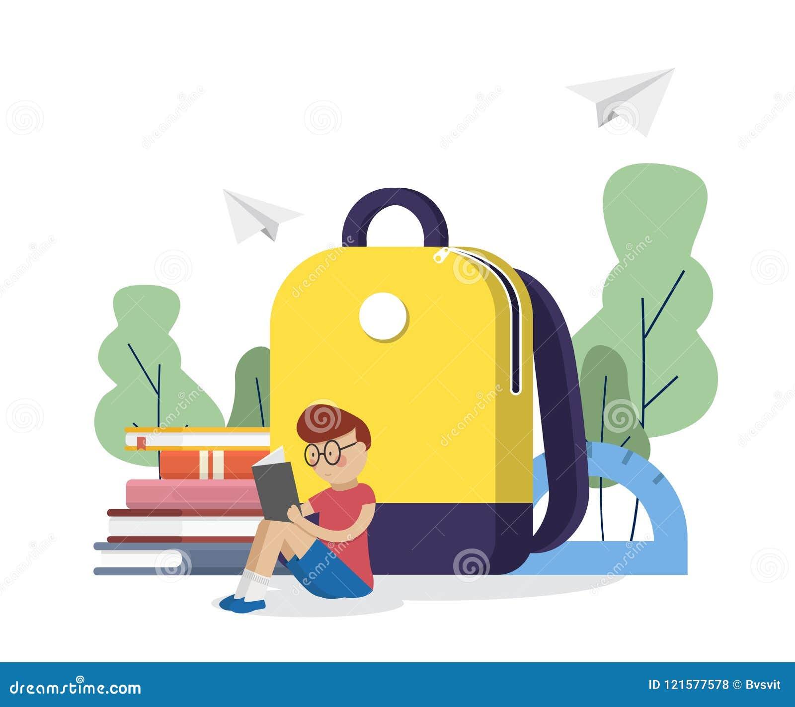 Tillbaka skola till Skolpojken läste böcker nära skolar ryggsäcken books isolerat gammalt för begrepp utbildning också vektor för